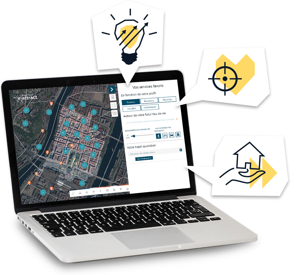 Aperçu de la Smart Map sur ordinateur